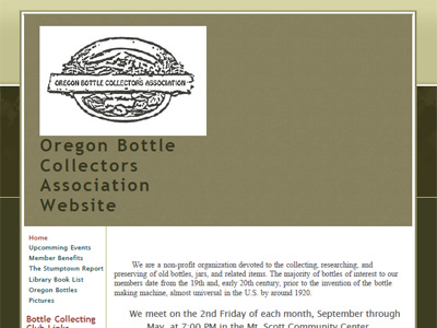 Oregon Bottle Collectors Association Website