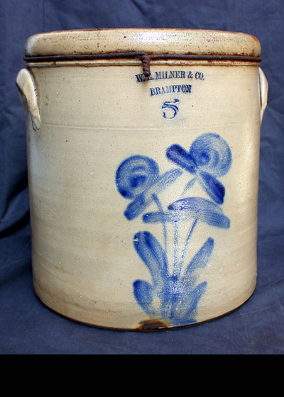 5 gallon W.E. Milner & Co. Brampton added to the new Brampton Stoneware section.